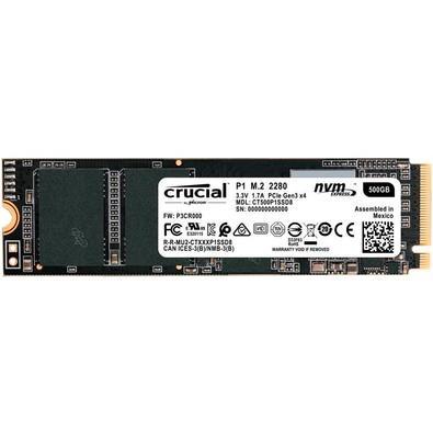 SSD Crucial P1, 500GB, M.2 NVMe, Leitura 1900MB/s, Gravação 950MB/s - CT500P1SSD8