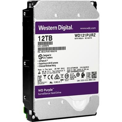 HD WD SATA 3.5´ Purple Surveillance 12TB 7200RPM 256MB Cache SATA 6.0Gb/s - WD121PURZ