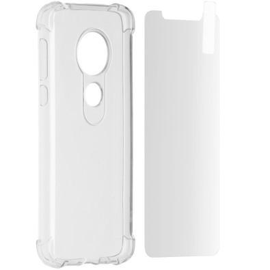 Kit 2 em 1 Celular Mart - Película de Vidro e Capa TPU Transparente Liso para Moto G7