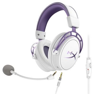 Headset Gamer HyperX Cloud Alpha Purple, Drivers 50mm, Branco e Roxo - HX-HSCA-PL