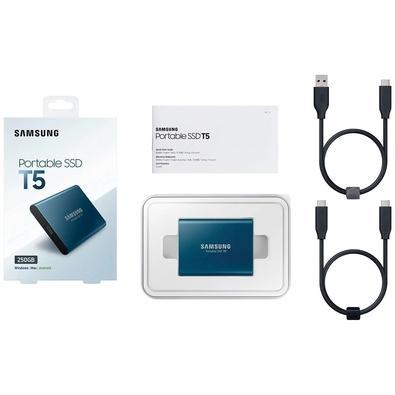SSD Samsung Externo, Portátil, T5, 500GB, USB 3.1, Azul - MU-PA500B/AM