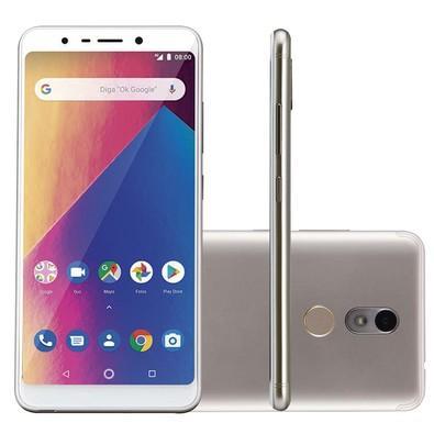 Smartphone Multilaser MS60X Plus, 16GB, 13MP, Tela 5.7´, Dourado/Branco + Capa e Película - P9084