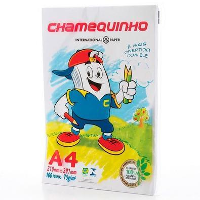 Papel Sulfite A4 Chamequinho, 210 x 297mm, 75grs, Pacote 100 Folhas, Branco
