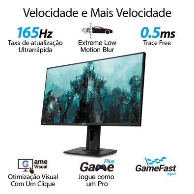 Monitor Gamer LED Asus 27´, Full HD, HDMI/DVI-D/Display Port, Gsync Compatível, Altura Ajustável, 165 Hz, 0.5ms - VG278QR