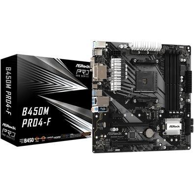 Placa-mãe Asrock B450M Pro4-F, AMD AM4, mATX, DDR4
