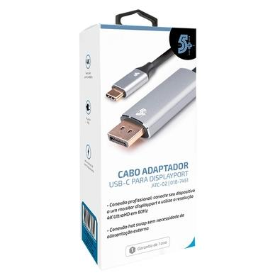 Cabo Adaptador USB-C Displayport 5+, 1.8m, Alumínio - 018-7451