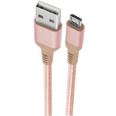 Cabo Micro USB, 1m, Geonav Essential, Nylon Trançado, Rosa - ESMIRG