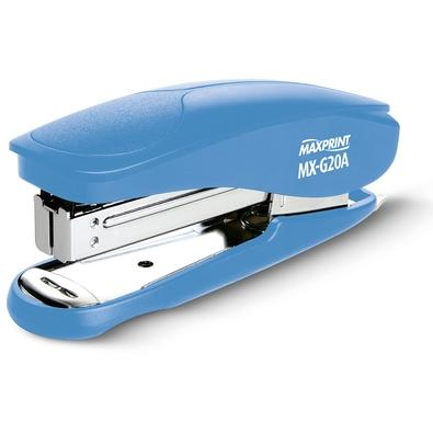 Grampeador Plástico Maxprint MX-G20A, 26/6 e 24/6, 20 folhas, com Extrator de Grampos, Azul - 715218