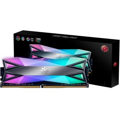 Memória XPG Spectrix D60G RGB 8GB, 3200MHz, DDR4, CL16, Cinza - AX4U320038G16-ST60