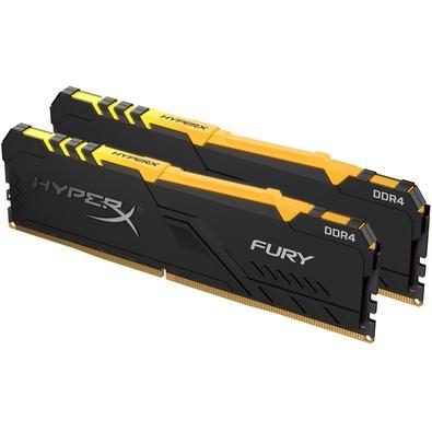 Memória HyperX Fury RGB, 32GB (2x16GB), 2666MHz, DDR4, CL16, Preto - HX426C16FB3AK2/32