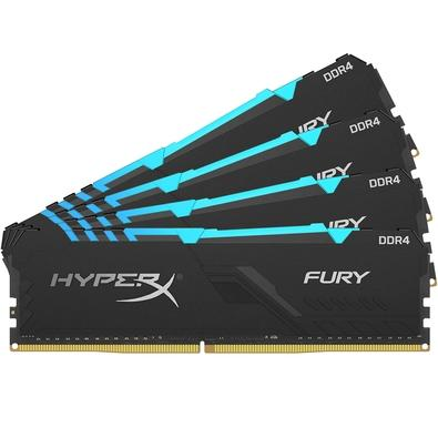 Memória HyperX Fury RGB, 32GB (4x8GB), 3200MHz, DDR4, CL16, Preto - HX432C16FB3AK4/32