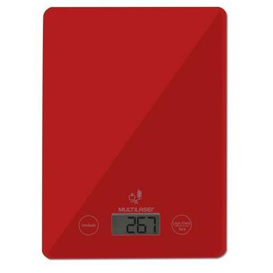 Balança de Cozinha Digital Multilaser, com Display LCD Touch, Até 5KG, Vermelha - CE118