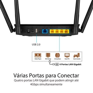 Roteador Wireless Asus RT-AC59U, Dual Band AC 1500Mbps, 4 Antenas - 90IG0540-BY8400