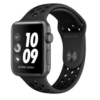 Apple Watch Nike Series 3, GPS + Cellular, 38mm, Cinza Espacial, Pulseira Preta - MTGQ2BZ/A