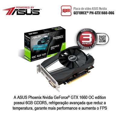 Computador Gamer BRX POWERED BY ASUS AMD Ryzen 5 3400G, 16GB, 1TB, SSD 120GB, Asus NVIDIA GeForce GTX 1660 6GB, Windows 10 Pro - BRXR3400161000750W
