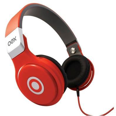 Headphone Oex, P2, Dobrável, Vermelho - HP102