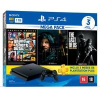 Console Sony PlayStation 4 Hits Bundle Mega Pack 9, 1TB - Grand Theft Auto V Premium Edition + Death Stranding + The Last of Us Remasterizado - CUH-2214B