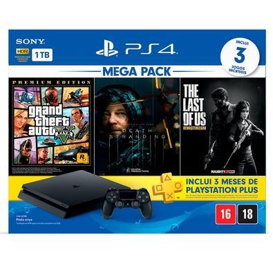 Console Sony PlayStation 4 Hits Bundle Mega Pack 9, 1TB - Grand Theft Auto V Premium Edition + Death Stranding + The Last of Us Remasterizado - CUH-2214B