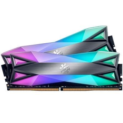 Memória XPG Spectrix D60G, RGB, 16GB (2x8GB), 3600MHz, DDR4, CL18, Cinza - AX4U360038G18A-DT60