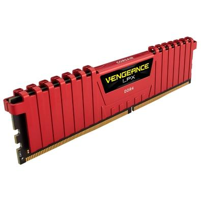 Memória Corsair Vengeance LPX 16GB (2x8GB) 3200Mhz DDR4 C16 Red - CMK16GX4M2B3200C16R