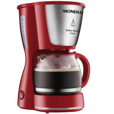 Cafeteira Elétrica Mondial Dolce Arome, 18 Xícaras, 550W, 110V, Inox/Vermelho - C-35-18X