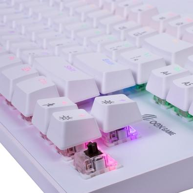 Teclado Mecânico Gamer OEX Game Wolf, LED Rainbow, Switch Outemu Brown, ABNT2, Branco - TC605
