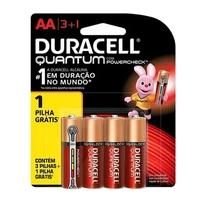 Pilha Alcalina Duracell Quantum, AA Pequena, com 4 Unidades - 7058