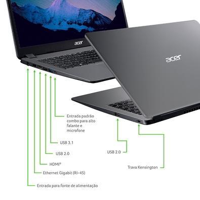 Notebook Acer Aspire 3 Intel Core i3-1005G1, 8GB, 1TB, Windows 10 Home, 15.6´, Gray - A315-56-34A9