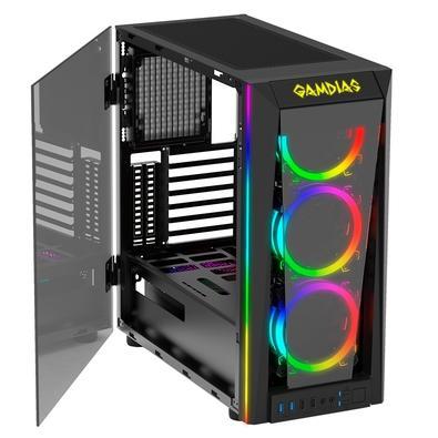 Gabinete Gamer Gamdias Talos M1B, Mid Tower, LED Rainbow, Lateral e Frontal Vidro Temperado