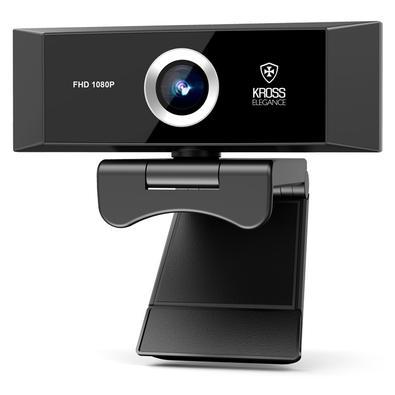 Webcam Kross, Full HD 1080P, Foco Manual, Tripé Ajustável - KE-WBM1080P