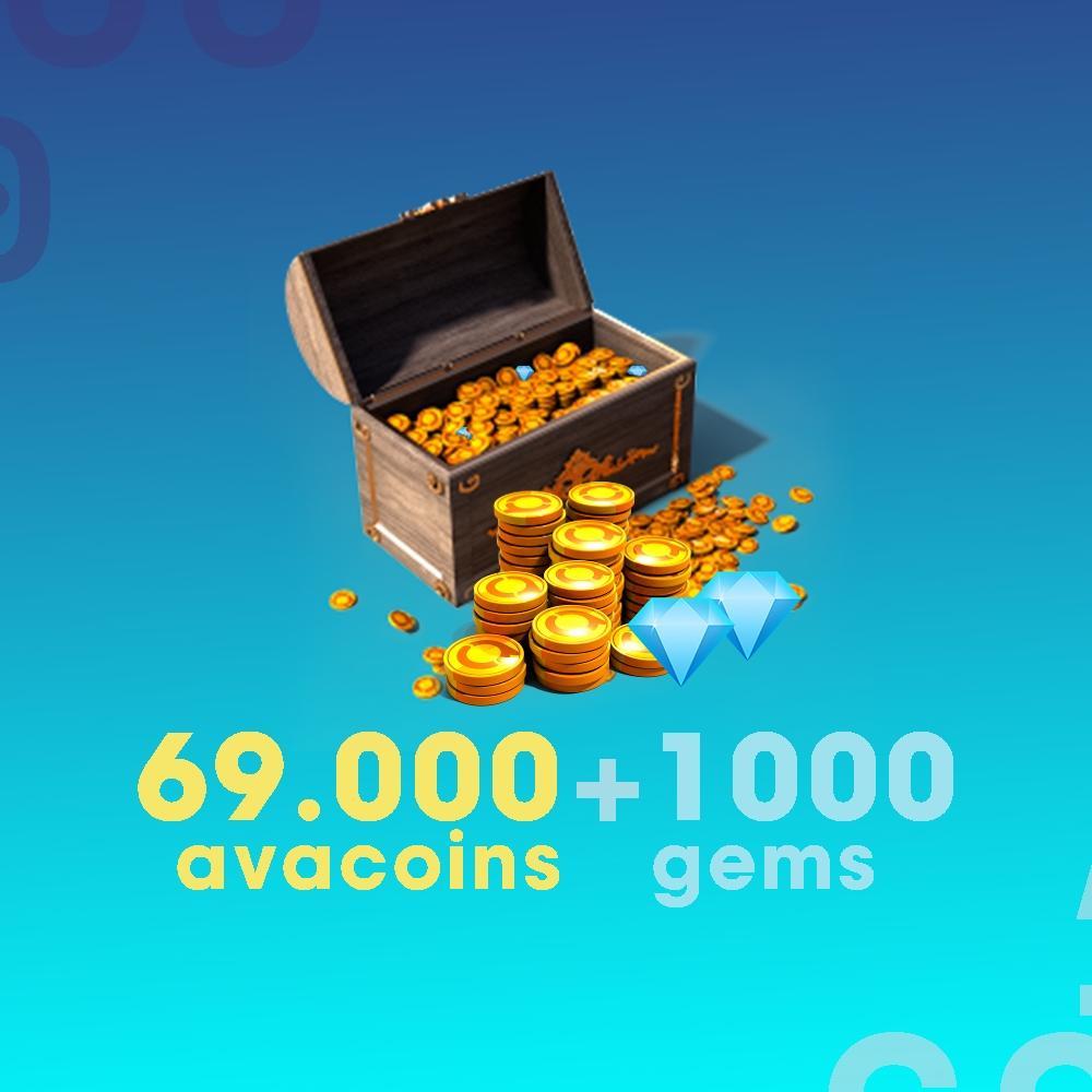 Gift Card Moeda para Jogo Avakin Life: 69.000 Avacoins + 1.000 Gemas - Produto Digital