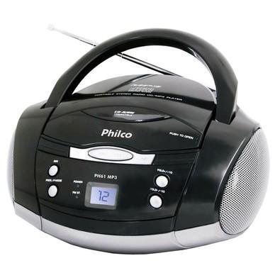 Rádio Portátil Philco - CD, MP3, Aux. e FM 3,4W RMS Bivolt Preto/Prata - PH61 056603147