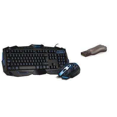 Kit Teclado e mouse Gamer com Hotkeys, Led Azul + Pen drive 8Gb USB