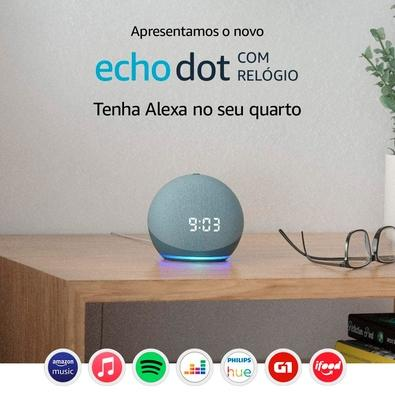 Echo Dot (4ª Geração) com Relógio e Alexa, Amazon Smart Speaker Azul - B085M5P9LF