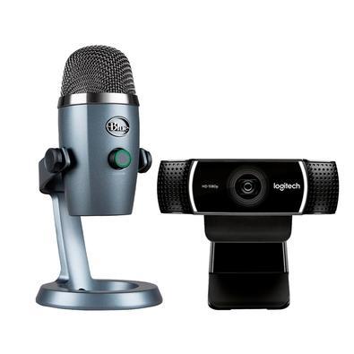 Kit Microfone Condensador USB Blue Yeti Nano Cinza + Webcam Full HD Logitech C922
