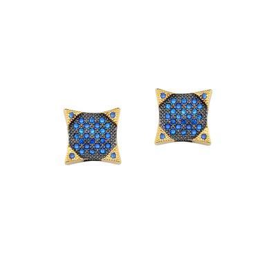 Brinco Solitário Quadrado com Micro Zircônias Azuis - ZE066