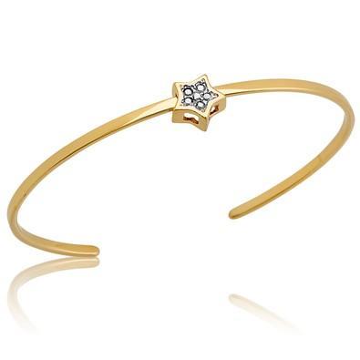 Bracelete Estrela com Strass e Ouro Branco - BC0479