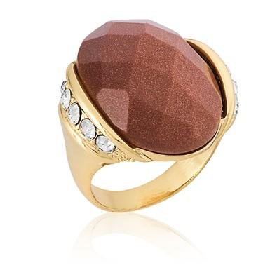 Anel Oval Pedra Natural Gold Stone com Micro Zircônias nº 20 - ANZ0552