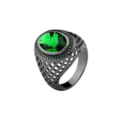 Anel Oval Verde Esmeralda com Micro Zircônias Verdes Tamanho 18 - MT082