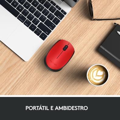 Mouse sem fio Logitech M170 com Design Ambidestro Compacto, Conexão USB e Pilha Inclusa, Vermelho - 910-004941