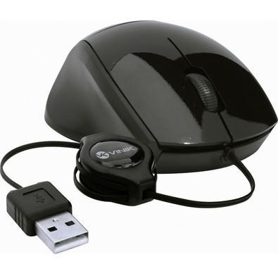 Mouse Usb Óptico Led 800 Dpis Retrátil Preto Mr-30 Vinik