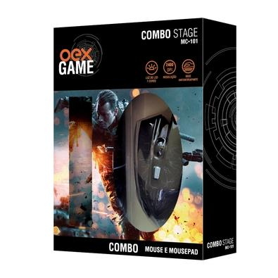 Kit Gamer OEX Game Stage - Mouse LED + Mousepad Pequeno - MC101
