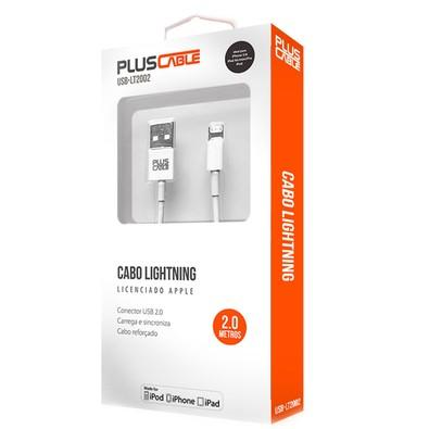 Cabo USB x Lightning para iPhone, Plus Cable, 2m, Branco - LT2002WH