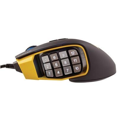 Mouse Gamer Corsair 16000DPI RGB 17 Botões Preto e Amarelo Scimitar Pro - CH-9304011