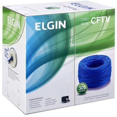 Cabo para CFTV Elgin 4 Pares 8 Vias 305M 46RCCFTVA305 Azul