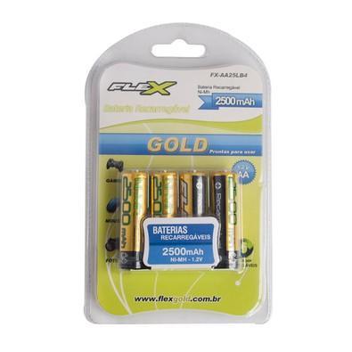 Pilha Recarregável FLEX GOLD AA 2500 mAh Blister com 4 unidades - 7938