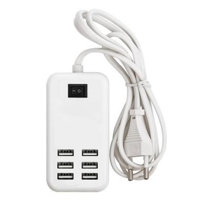 Carregador de Tomada Xcell com 6 portas USB, 3A 5V, Bivolt - Branco
