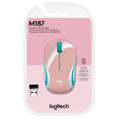 Mini Mouse Logitech M187 Sem Fio Rosa 1000DPI - 910-005364