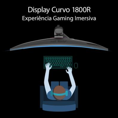 Monitor Gamer Asus ROG Strix LED 35´ Curvo, UWQHD, HDMI/Display Port, FreeSync, 1ms, Altura Ajustável - XG35VQ