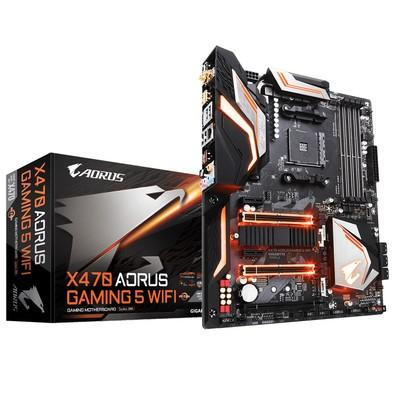 Placa-Mãe GIGABYTE p/ AMD AM4 ATX X470 AORUS GAMING 5 WIFI DDR4